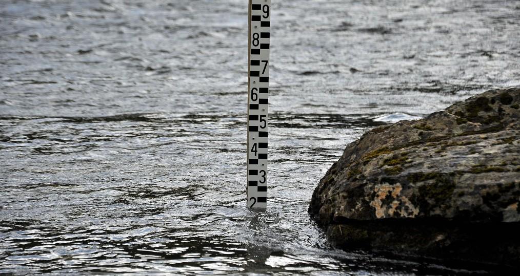 Vattennivån vid Sjöforsen den 20 aug kväll