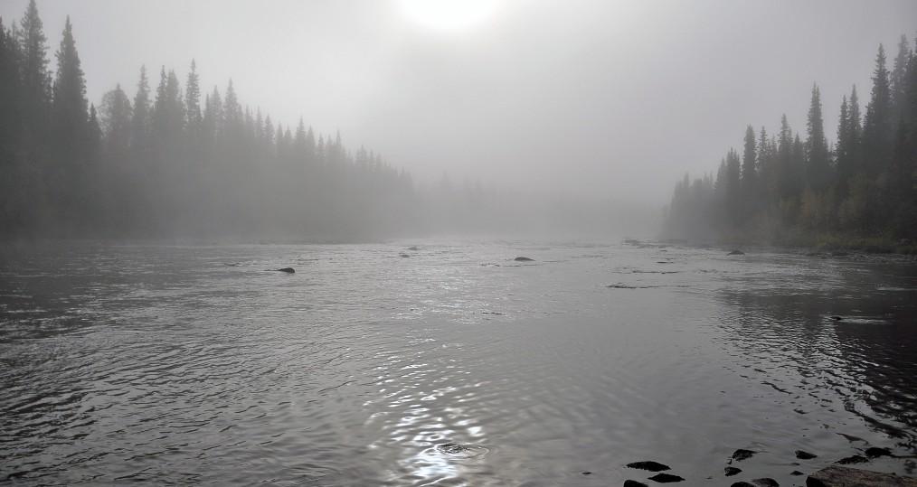 Nerde Harabacken där solen börjar ta sig igenom dimman